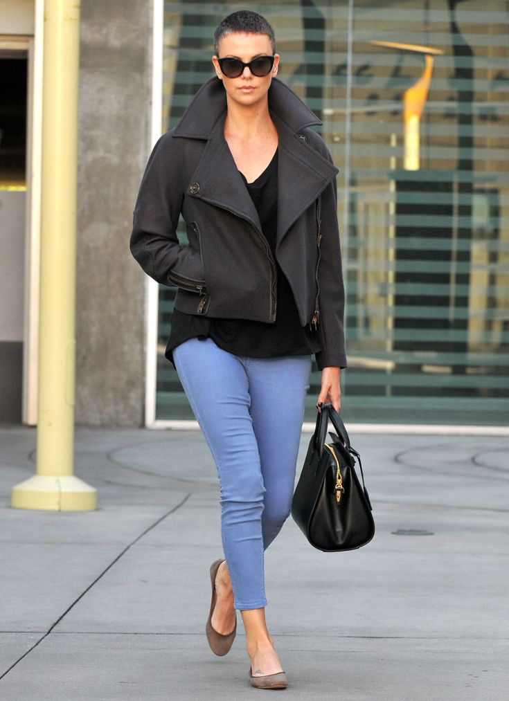 Charlize Theron- One of the few women who can pull off a buzz cut.  Love the coat!