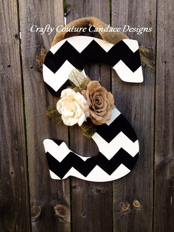 Chevron Monogram Door Hanger with Large Burlap Flowers