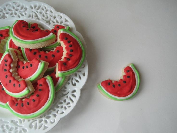 WATERMELON Slices Sugar cookies -4 dozen NEW for Summer. $14.50, via Etsy.