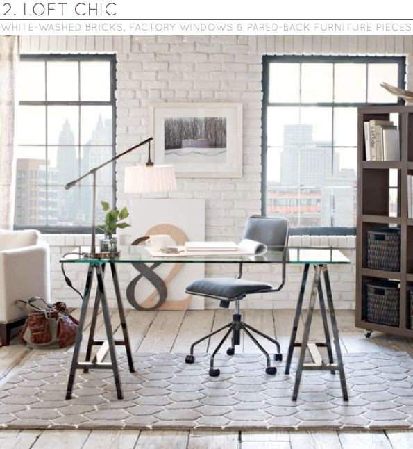 loft-ish work spaceDecor, Glasses, Offices Spaces, Work Spaces, Workspaces, Desks, West Elm, Design, Home Offices