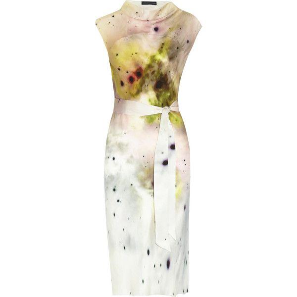 Maria Grachvogel Erato printed silk crepe de chine dress (49.710 RUB) ❤ liked on Polyvore featuring dresses, pastel yellow, tie waist dress, pastel yellow dress, pastel dresses, multicolored dress and colorful dresses