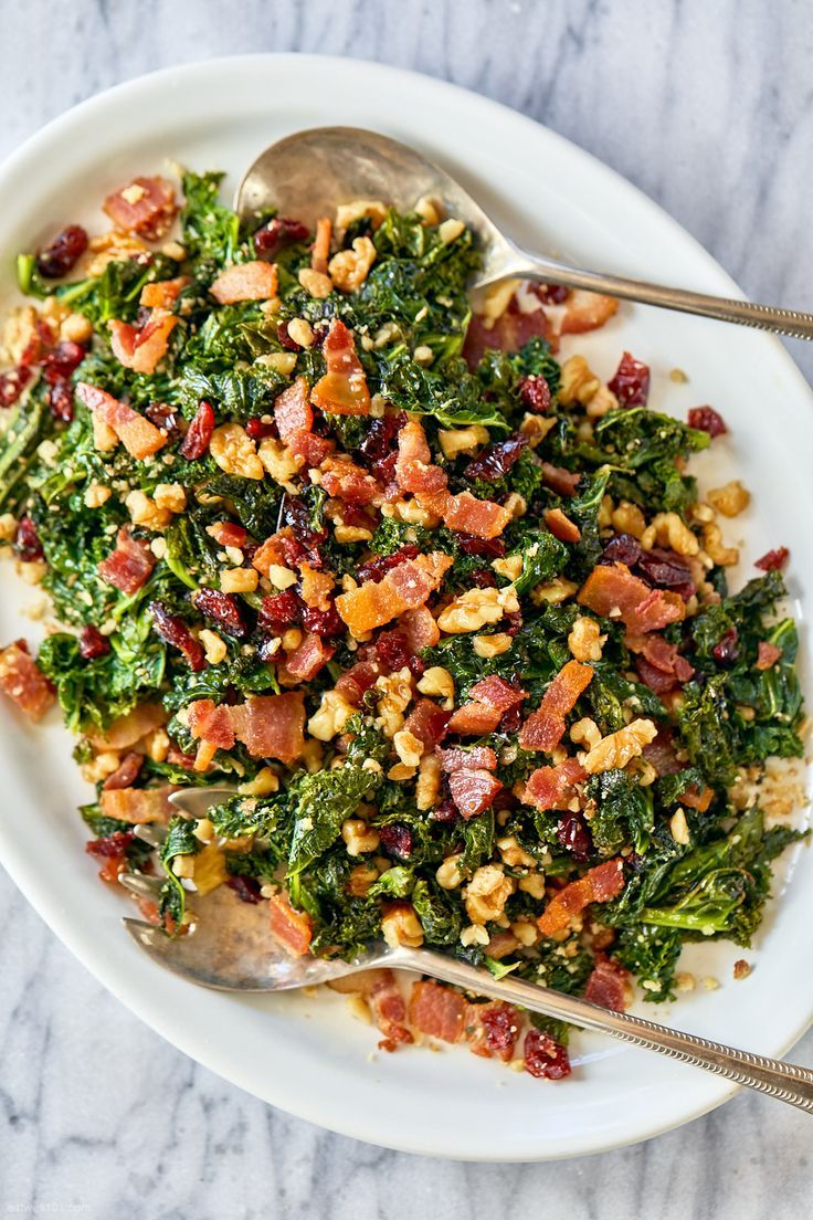 Healthy Sauteed Kale Salad Recipe With Bacon Walnuts And Cranberries Kale Salad Recipe Sauteed Kale Lamb Tagine Recipe Salad Recipes With Bacon