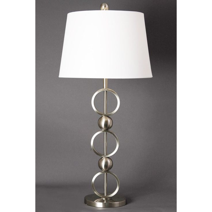 StyleCraft (BP7591) | Brushed Steel Stacked Loop And Ball Table Lamp With  White Linen