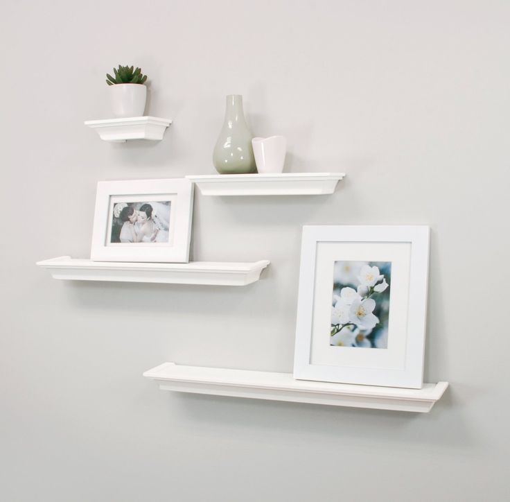 AmazonSmile - nexxt Classic Set of 4 Multilength Floating Ledge Shelves, White - Floating Shelves
