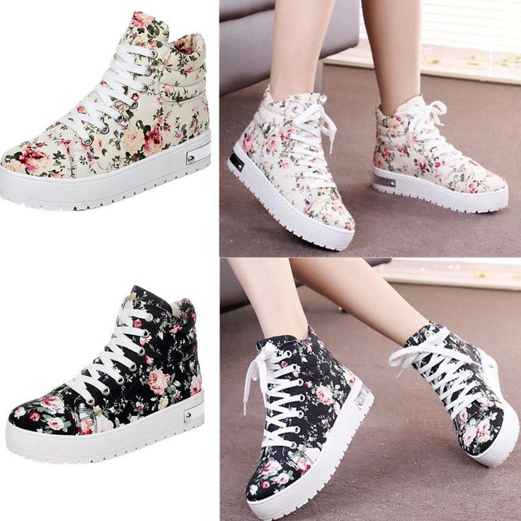 Women Thick Sole Floral Print Shoes Lace Up High Top Boots Flat Canvas Sneakers  #Unbranded #FlatsOxfords
