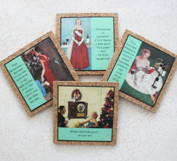Christmas Coasters Set With Funny Sassy Sayings on by GreenGypsies