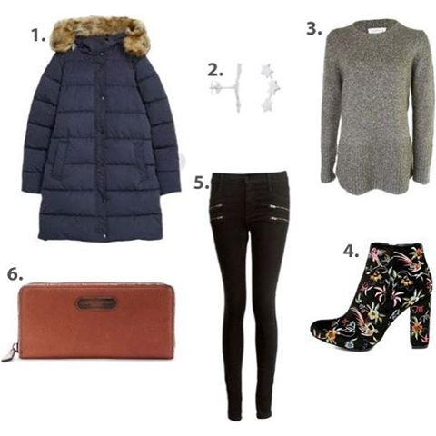 cocaranti | Our sale #ootd 1.Parka London Thelma Quilted Parka in Navy//2.Anna & Nina Three Star Stud Earrings in silver (not in sale)//3.Velvet Caroleen Chunky Jumper in Grey//4. Quetzal Black Velvet Embroidered Ankle boots (www.lulus.com)//5.Paige Edgemont Mid Rise Ultra Skinny Jean in Black Fog Grey//6.Liebeskind Dana Vintage Leather Purse in Dragon Rust #cheshire #shoplocal #shoppingaddict #shopaholic #wishlist #celebritystyle #style #designer #love #lovewantneed #fashionblog #fashion