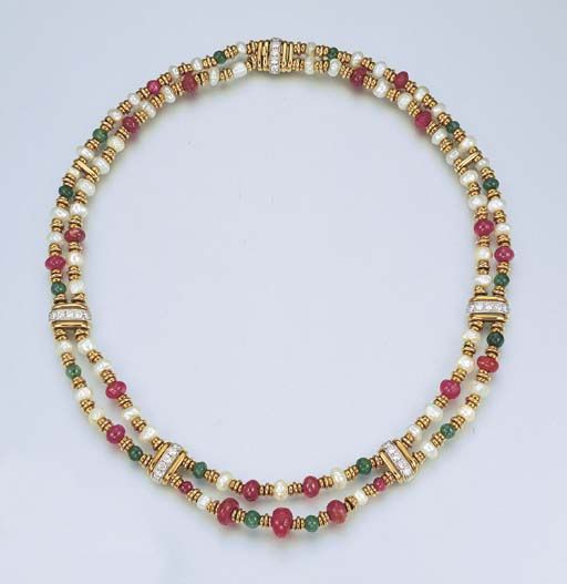 "A MULTI-GEM, PEARL AND DIAMOND ""MANHATTAN"" NECKLACE, BY SCAVIA    Designed as two strands of pearl, ruby and emerald beads spaced by diamond and 18k gold plaque links, 39.0 cm, in a Scavia light green suede pouch    Signed Scavia"