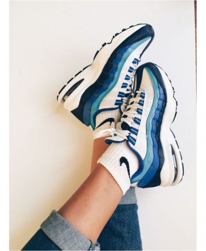 new products 15cd0 ab28b Nike Air Max 95 Black White Blue Trainer Clearance