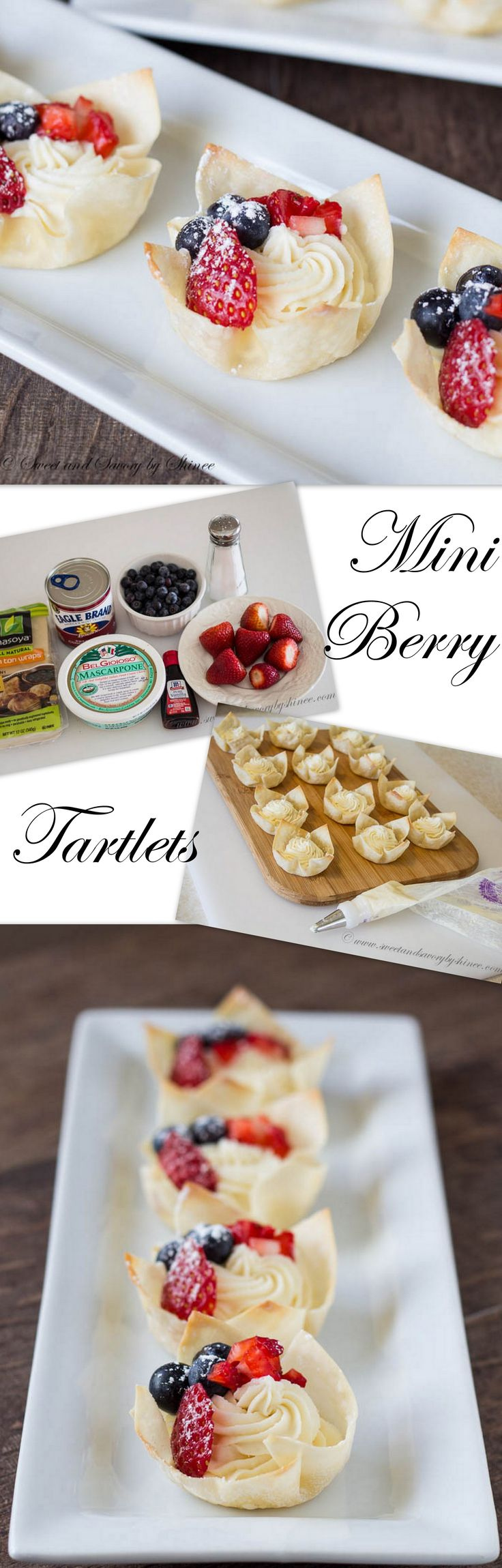 These crunchy, creamy, juicy mini berry tartlets are super easy to make. No pastry dough needed! ~Sweet and Savory by Shinee