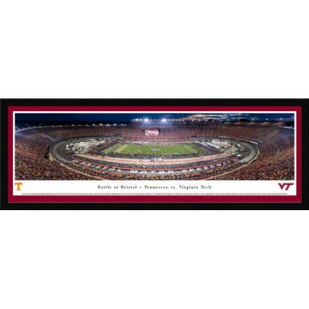 Battle at Bristol - TN vs Vtech Football - Blakeway Panoramas College Print with Select Frame and Maroon Mat, Red