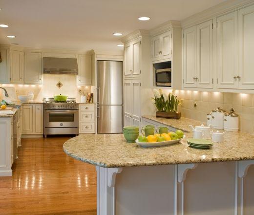 Traditional U Shaped Cream Kitchen, Cream Cabinets,