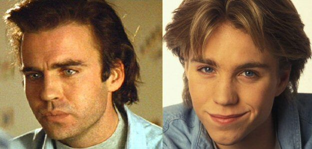 Yet another instance of child actor celebrity clonage would  have to be the noticeable similarity between the late Jonathan Brandis (R) and Jeff Fahey (L).