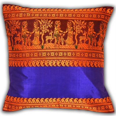 Royal Blue Baluchari Cushion Cover... would make a great accent pillow with an antique royal blue Krishna Tanjore painting on the wall.