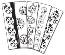 Black and white ladybug bookmarks. A great colorable bookmark for kids to print and use in their books