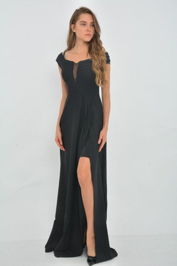 6acf9b8e99868 Siyah renk yırtmaclı dekolteli abiye C1-130012 - Kapıda Ödemeli Ucuz Bayan  Giyim Online Alışveriş Sitesi ModiVera Ucuz abiye elbiseler kapıda ödeme  imkanı ...