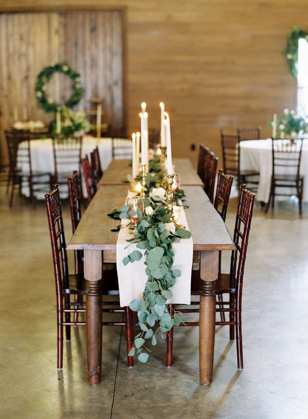 Earthy Wedding Reception with a Farmhouse Head Table | DFW ... |Farmhouse Table Wedding Reception