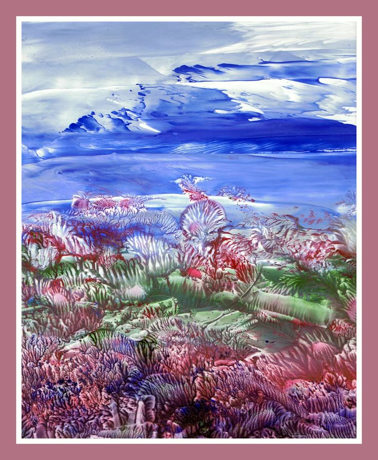 Landschap geschilderd met bijenwas door Beika Kruid