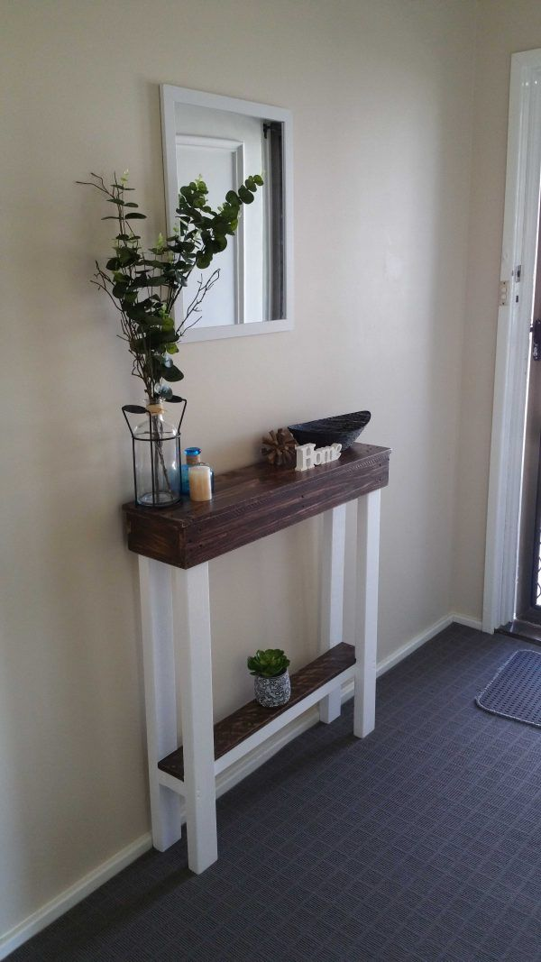 I couldn't find an entry table narrow enough to fit in my hallway. I wanted something that I could throw my keys on as I entered my home. So I decided I'd make it.