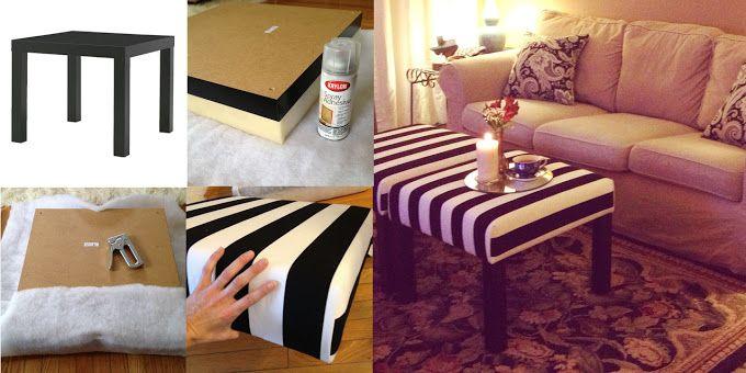 Ikea table ($8) to ottoman