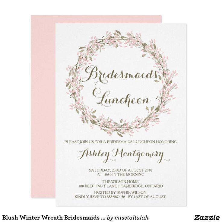 BRIDESMAIDS LUNCH Wedding Bridal Shower Chic Pink Blush Wreath Floral Flowers Invites Announcements Invitations  #wedding #bridesmaids #lunch