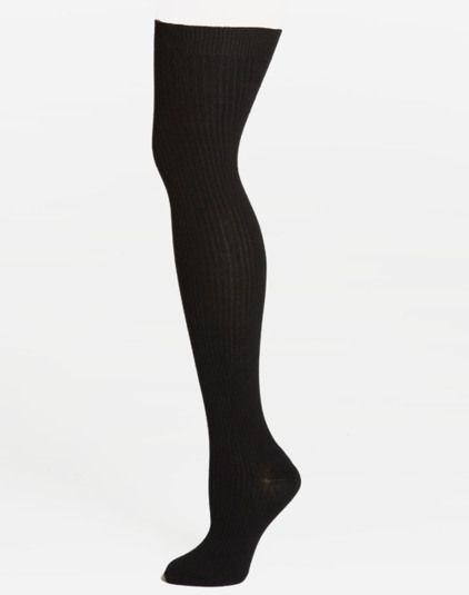 Ribbed thigh high sock