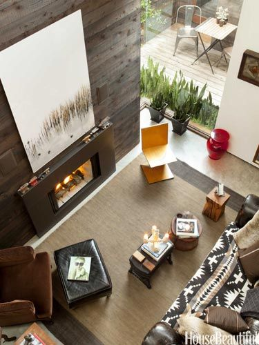 Tall Ceiling Living Room Fireplace - Small House Interior Design Ideas - House Beautiful