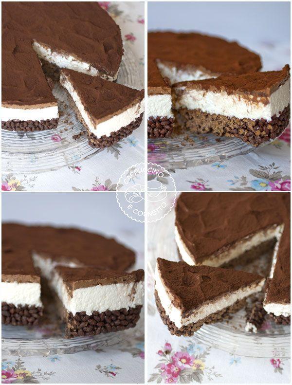 Non avevo idea di come chiamare questa torta! Il titolo spiega tutto…o quasi. Avrei dovuto scirvere, per la precisione: Torta fredda con base al riso soffiato e cioccolato fondente, con crema…
