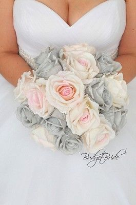 Pink and Gray wedding flower brides bouquet with roses, orchids, pearls, calla lilies, diamonds, jewels, lambs ear, eucalyptus, silk artificial cheap bouquets