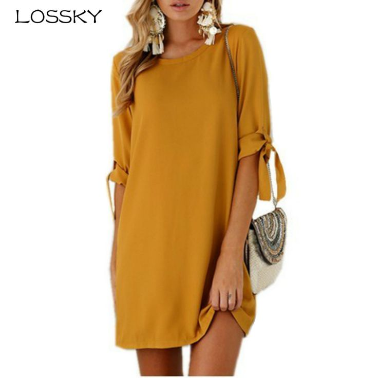 Cheap dress for, Buy Quality dress for women directly from China summer dress Suppliers: LOSSKY 2017 Autumn Summer Dress For Women Roupa Tunic Work Dresses Tie Bow Pencil Casual Wear Clothes Office Ladies Vestidos