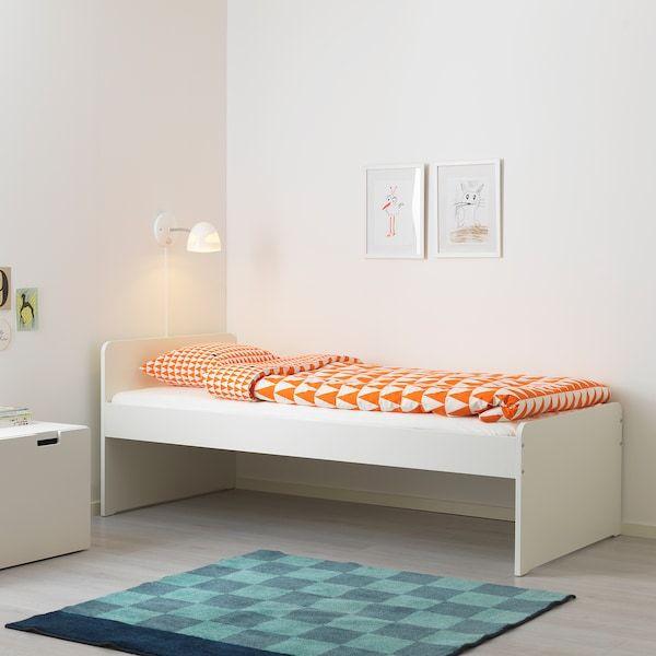 Slakt White Bed With Slatted Bed Base 90x200 Cm Ikea In 2020 Bed Frame Single Bed Frame Bed Base