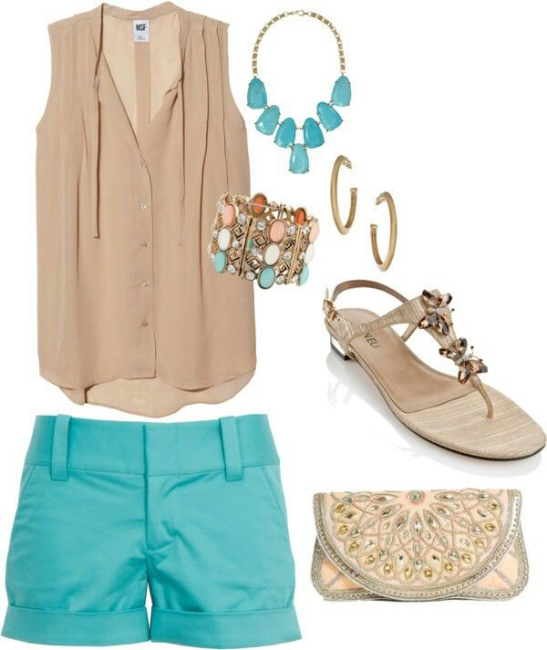 A light out fit that mixes beige with some splashes of teal.