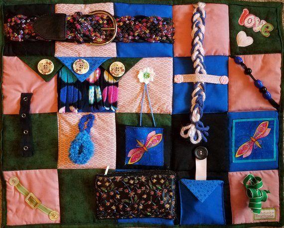 fidget blanket for dementia Alzheimer/'s stroke patients nursing home /& hospital patients. Unique Activity