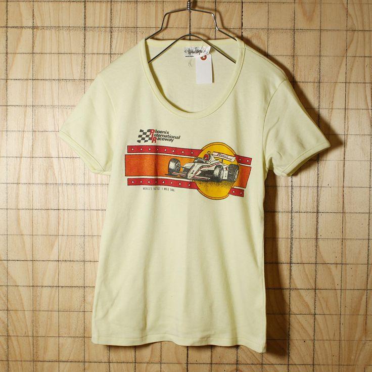 Hanes Designer Tee/USA製80s古着/イエロー/PhoenixプリントTシャツ/レディースM