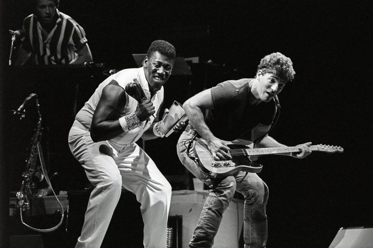 Bruce Springsteen and his sideman Clarence Clemons perform with The E Street Band at Giants Stadium in East Rutherford, New Jersey on Aug. 21, 1985.