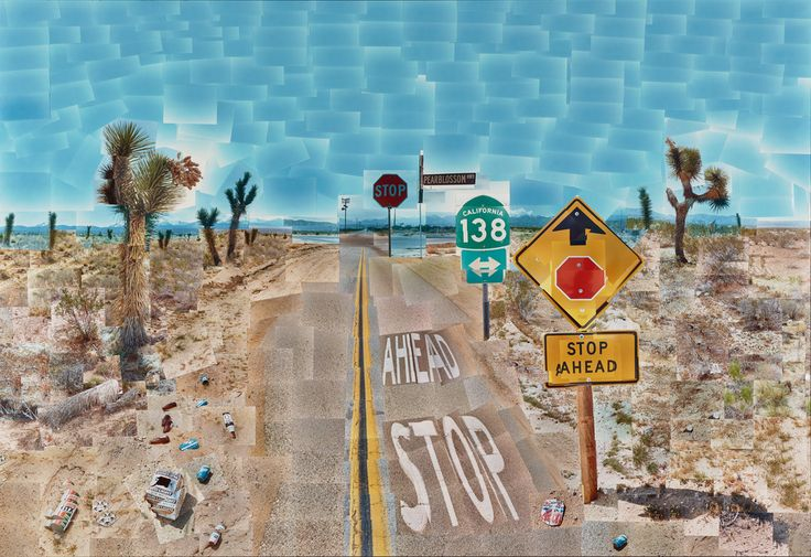Pearblossom Hwy., 11 - 18th April 1986, #2; David Hockney (British, born 1937); California, United States, North America; 1986; Chromogenic print; 181.6 × 271.8 cm (71 1/2 × 107 in.); 97.XM.39; J. Paul Getty Museum, Los Angeles, California