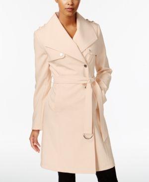Calvin Klein Asymmetrical Trench Coat - Pink XXL