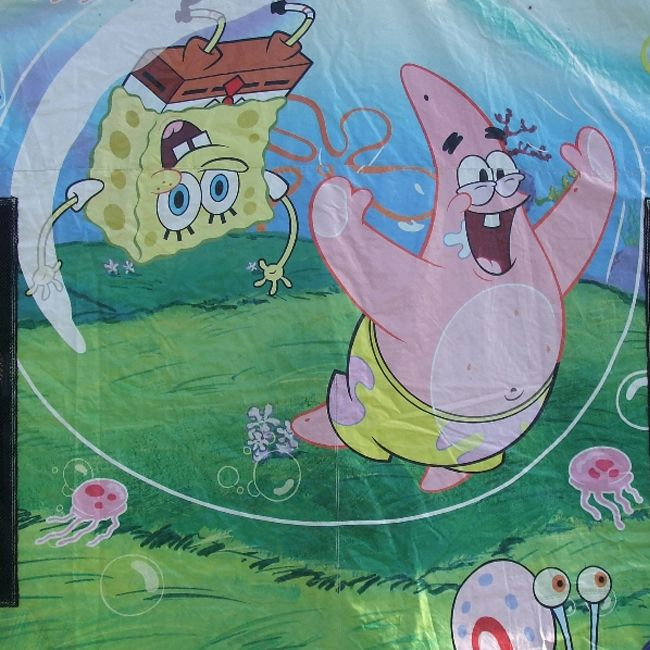 Sponge Bob Bouncy Castle Picture on front of castle.  #bouncy #castle #hire #party #inflatables #jumping #toys