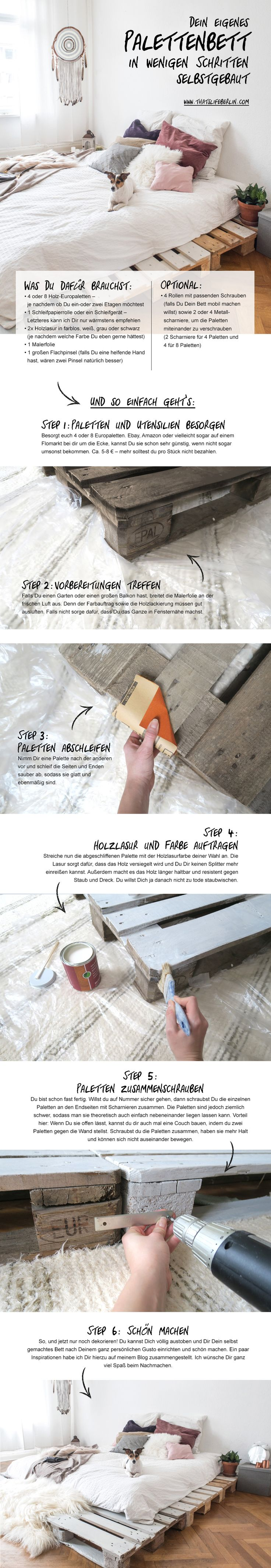 Dein eigenes Palettenbett in nur wenigen Schritten selbstgemacht! Make your own palett bed in only a few steps. #selfmade #easy #DIY Mehr findest Du auf: www.thatslifeberlin.com