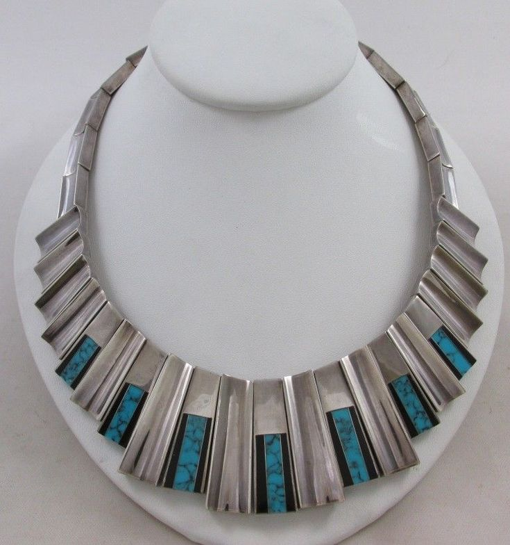 VINTAGE MONTEROS CLEOPATRA STYLE STERLING SILVER TURQUOISE & BLACK ONYX NECKLACE #Monteros