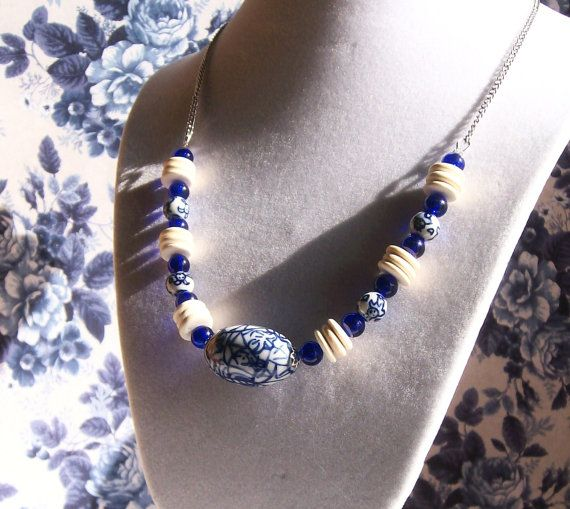 Ceramic Blue Beaded Necklace, Wood and Glass Chunky Necklace, Blue and White Necklace, Beaded Jewelry, For Women, Handmade