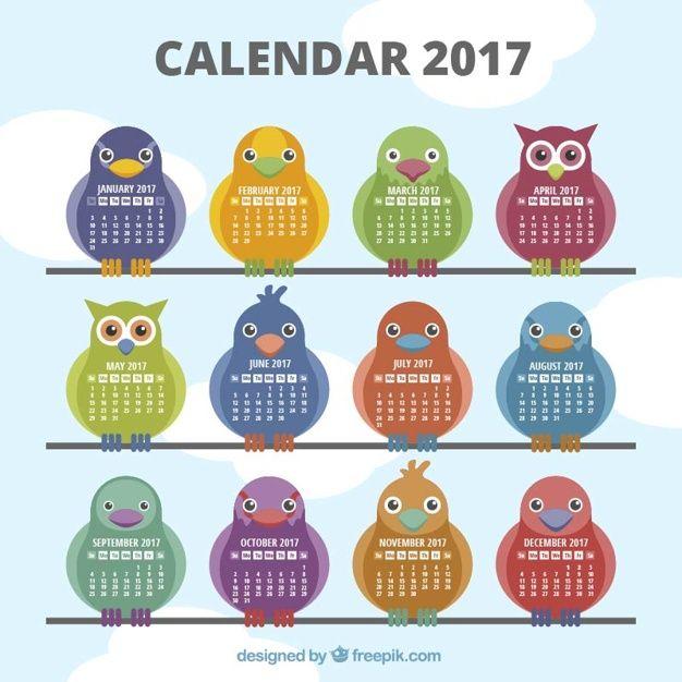 Calendario de 2017 con diferentes tipos de aves Vector Gratis