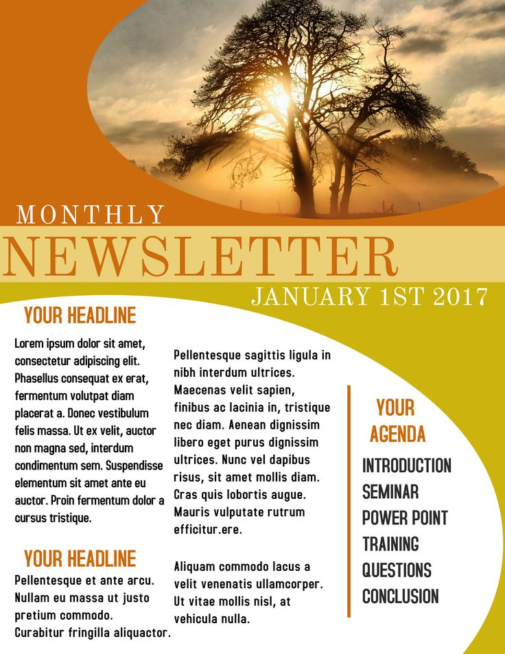 Yellow newsletter sample. Click to customize.