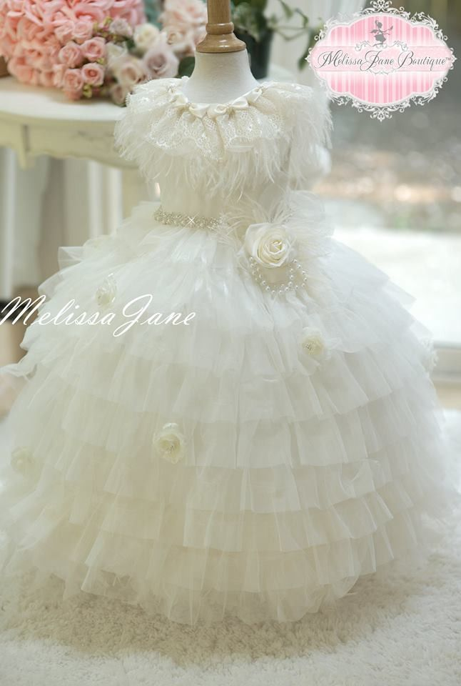 Couture Fairy Dream Girls Ostrich/Feather Layered Princess Dress