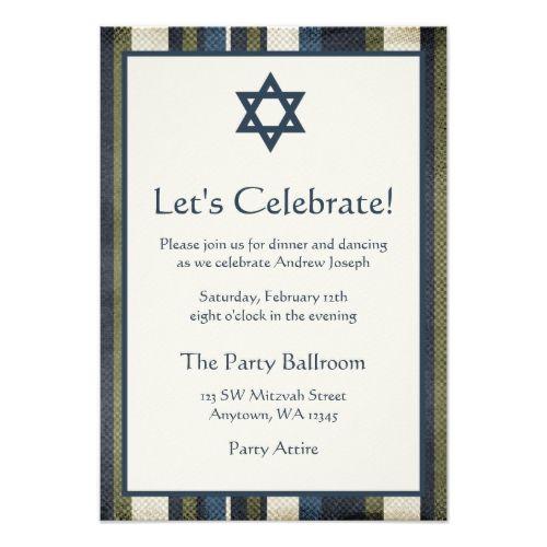 Grunge Stripes Bar Mitzvah Reception Card
