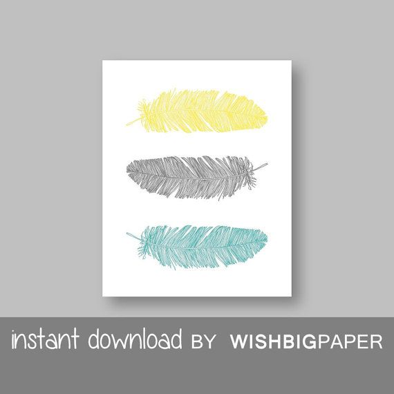 SALE!! Arrow Wall Art Print - Instant Download. Home Art Print. Feather Wall Art. Turquoise Gray Yellow Decor. Turquoise Gray Yellow art pri