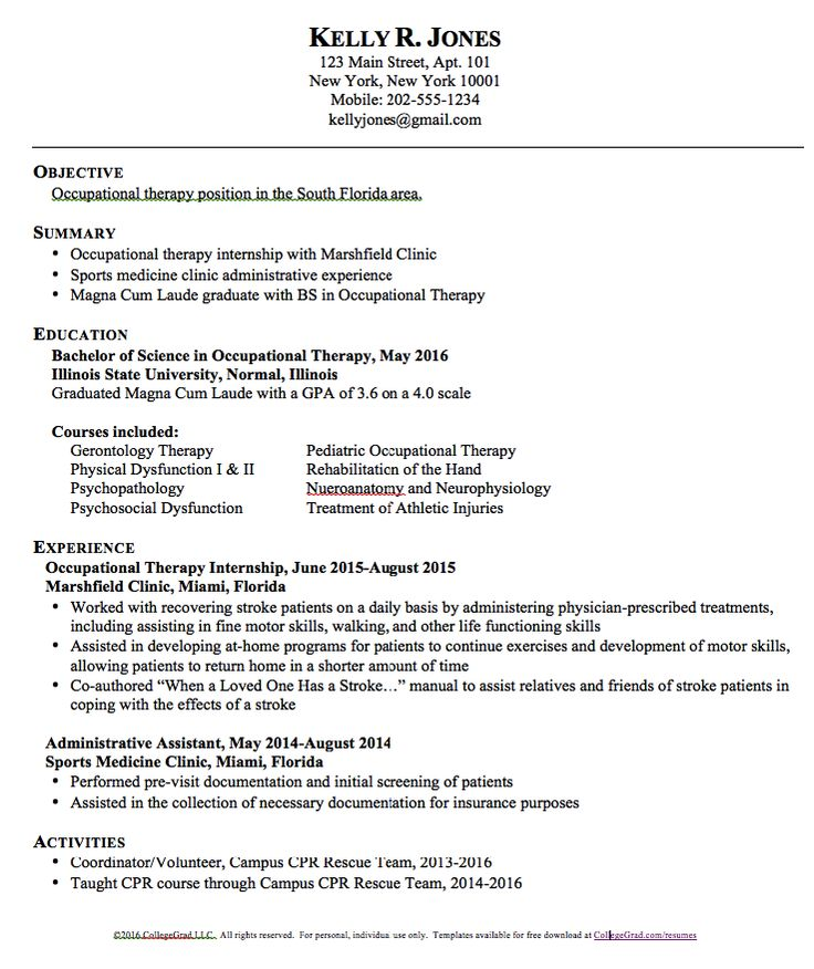 free resume templates occupational therapy school