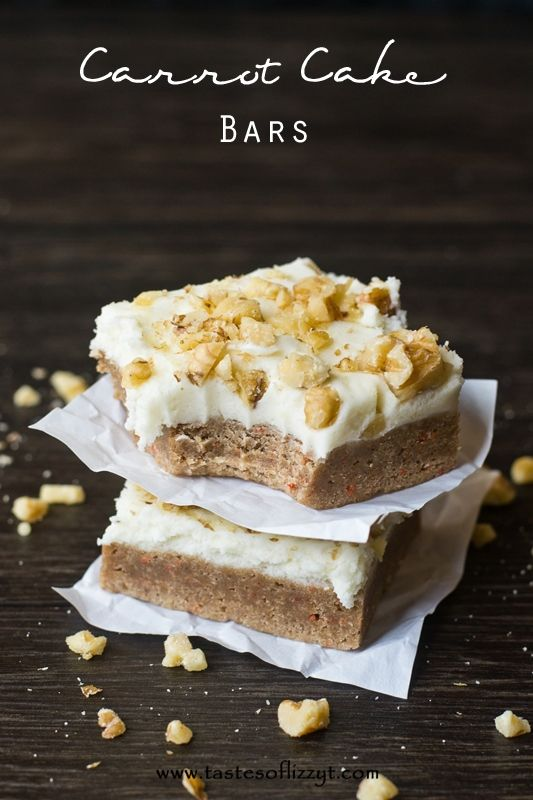 Carrot Cake Bars {Tastes of Lizzy T} Just 4 simple ingredients in these cake mix bars! So yummy without the frosting, but a decadent treat with the frosting! http://www.tastesoflizzyt.com/2014/03/23/carrot-cake-bars/