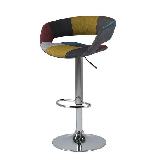 Barkruk Happy met stof multicolour. https://www.meubelen-online.nl/barkruk-happy-multicolour-design-kruk