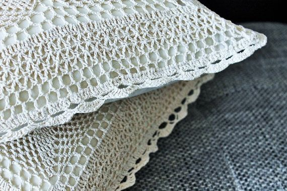 Crochet Pillow covers lace corners 16''x16'' Cushions by Kadabros
